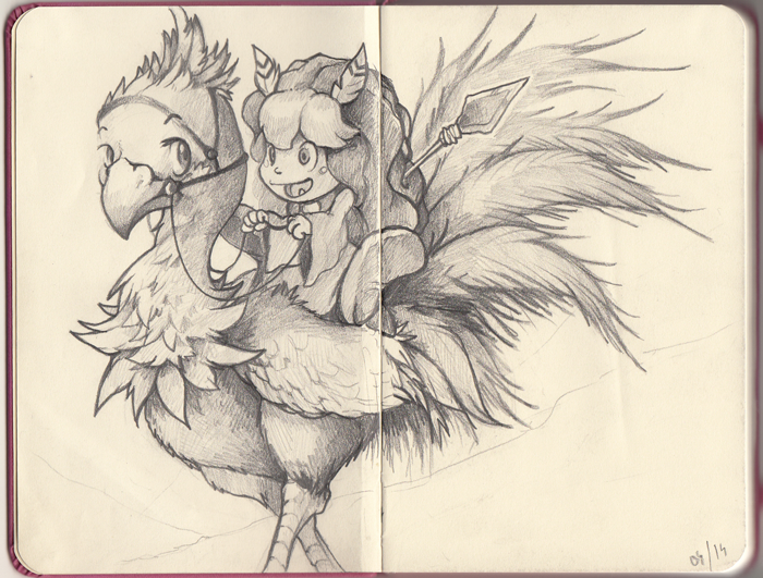 Popoi on a Chocobo